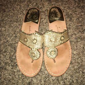 Gold glitter jack roger sandals size 8